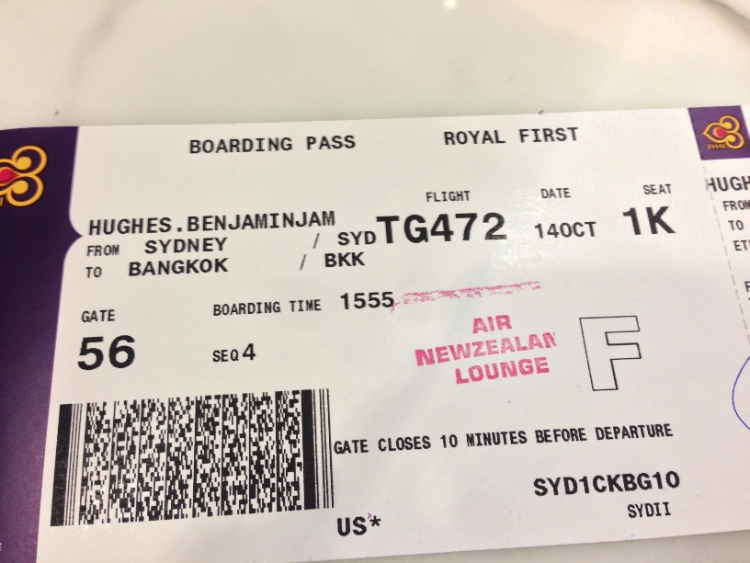 Thai Royal First Boarding Pass