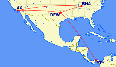 LAX-PTY Routing